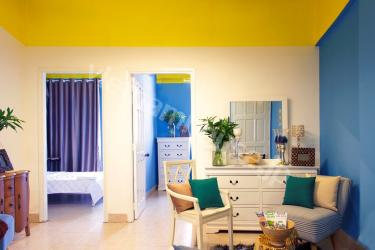 Great blue and yellow combination in apartment next to Saigon river