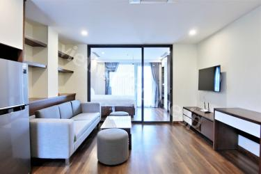 Such a wide balcony in timber-flooring serviced apartment