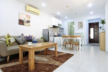 Spacious balcony with green life in serviced apartment in Binh Thanh District.